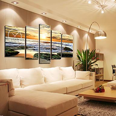 Modern seascape wall clock in canvas set of 5 524692 2017 for Decoracion salas clasicas elegantes