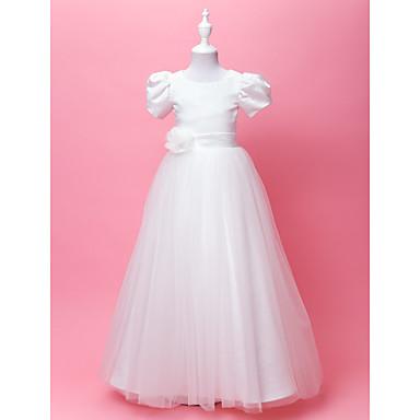 LAN TING BRIDE A-line Princess Floor-length Flower Girl Dress - Satin Tulle Jewel with Draping Flower(s) Sash / Ribbon