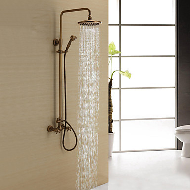 antique brass shower faucet with 8 inch shower head hand shower 165842 2017