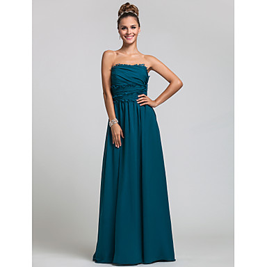 Lanting Bride® Floor-length Chiffon Bridesmaid Dress - Sheath / Column Strapless Plus Size / Petite with Ruffles / Side Draping
