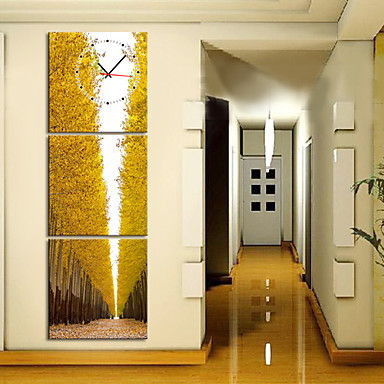 """12""""-24"""" Artistic Trees Scenic Wall Clock In Canvas 3pcs"""