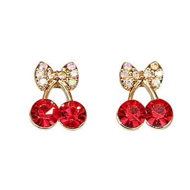 Buy Women's Cute red cherry delicate diamond earrings E471