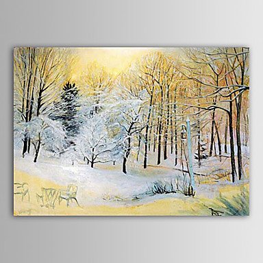Christmas Painting Winter Forests with Snow Holiday Gift Oil Painting on Canv...