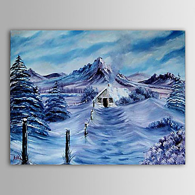 Christmas Painting Snowing Mountain Winter Holiday Gift Oil Painting on Canva...