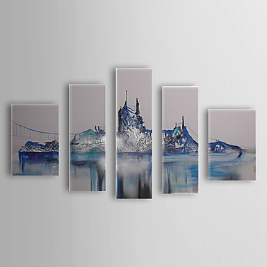 Hand Painted Oil Painting Landscape Bridge with Stretched Frame Set of 5 1311...