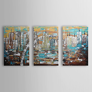 Hand Painted Oil Painting Landscape City Center with Stretched Frame Set of 3...
