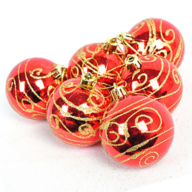 "2.5""Golden And Red Christmas Ornament Ball(6 Pcs Set)"