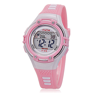 Kids' Watch Children's Multi-Functional Round Dial Rubber Band LCD Digital Wrist Watch (Assorted Colors) Cool Watches Unique Watches Fashion Watch