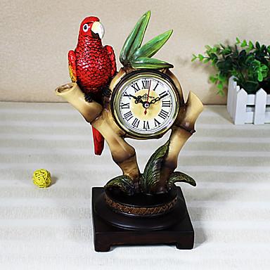 "11""H Parrot Resin Tabletop Clock"