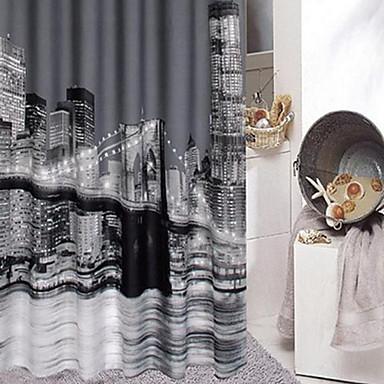 Rideau de douche ville moderne nuit imprimer r sistant l for Rideau de douche moderne