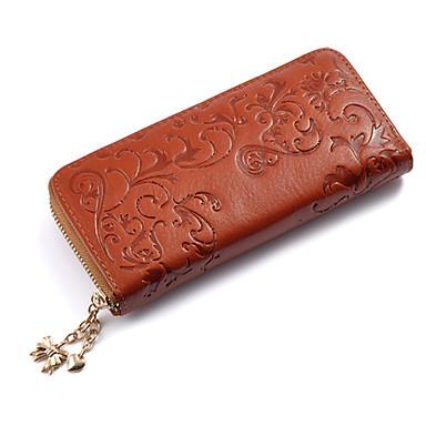Mega Fashion Rose Pattern Leather Zipper Wallet