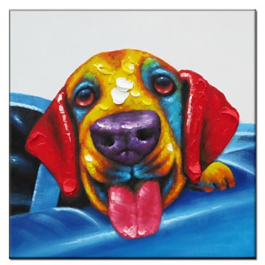 Hand Painted Oil Painting Animal Dog in Car 01