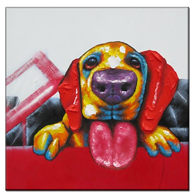 Hand Painted Oil Painting Animal Dog in Car 02
