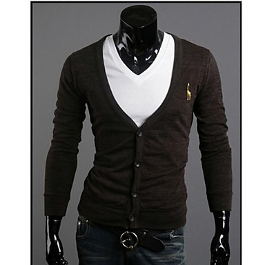 Men's Casual/Daily Work Regular Cardigan,Solid Print Long Sleeve Cotton Polyester