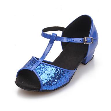 Non Customizable Women's/Kids' Dance Shoes Latin/Ballroom Sparkling Glitter Chunky Heel Black/Red/Gold/Fuchsia/Other