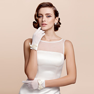 Buy Gloves Tulle Wrist Length Bridal Bow