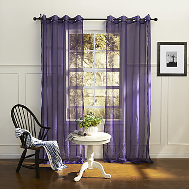 (One Panel Grommet Top) Country Elegant Purple Solid Eco-friendly Sheer Curtain