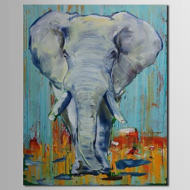 Hand Painted Oil Painting Animal Elephant with Stretched Frame