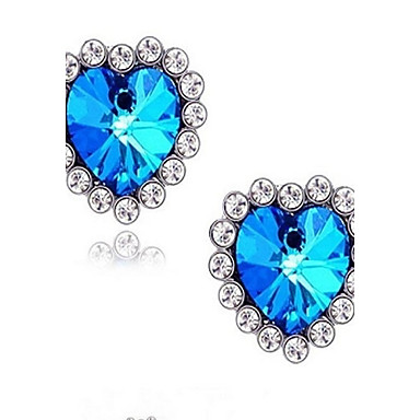 (1 Pair)European (Blue Diamond Gems) as Picture Alloy Stud Earrings