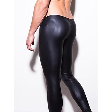 Men's Leather Black Tight Long Johns