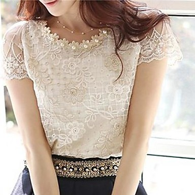 Women's Lace Casual/Daily Plus Size Simple Summer Blouse,Jacquard Round Neck Short Sleeve Polyester Thin