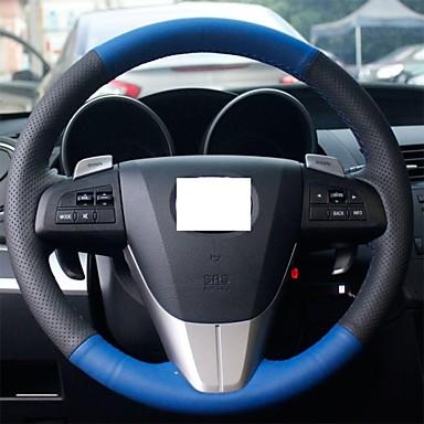 Buy XuJi ™ Black Blue Genuine Leather Steering Wheel Cover Mazda 3 2011-2013 5 6 CX7