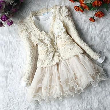 Girl's Fashion Flower Coats+ Dresses Clothing Sets Lovely Princess Clothing Set
