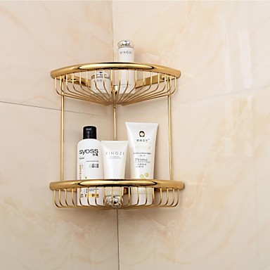 Golden finish triangle double shelves brass material wall for Accessoire salle de bain dore