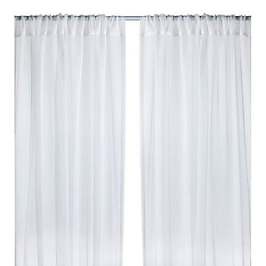 (One Panel Back Tap Top) Graceful White Solid Sheer Curtain