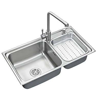 l32 inch double bowl 304 stainless steel kitchen sink set with drain rack set of 6 1566830 2016. Black Bedroom Furniture Sets. Home Design Ideas