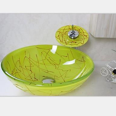 Abstracto fregadero recipiente de vidrio templado redonda amarilla contempor nea con juego de - Lavabo de vidrio ...