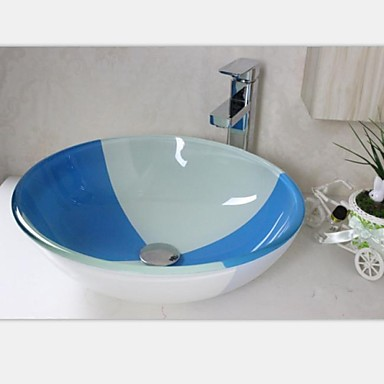 Blue And White Vessel Sink : Blue And White Round Tempered Glass Vessel Sink With Faucet Set ...