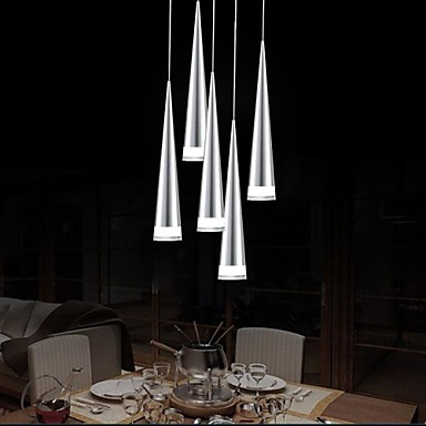 5 pendant light modern contemporary chrome feature for for Modern pendant lighting for dining room