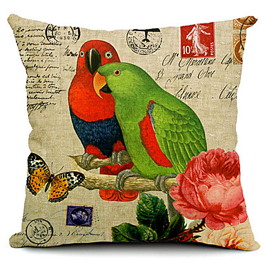 Buy Couple Parrots Cotton/Linen Decorative Pillow Cover