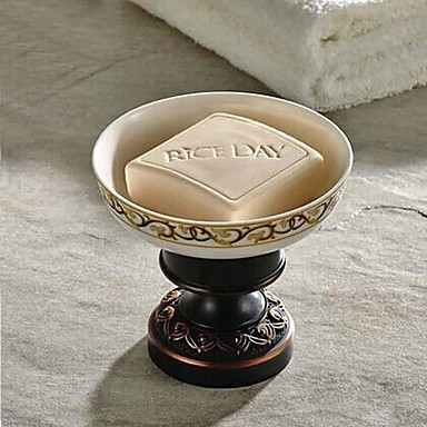 Buy Soap Dish Oil Rubbed Bronze Wall Mounted 150 x 82x 66mm (5.9 3.22x 2.59 inch) Brass / Ceramic Antique