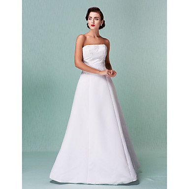 LAN TING BRIDE A-line Princess Wedding Dress - Classic & Timeless Reception Open Back Floor-length Strapless Satin with Lace