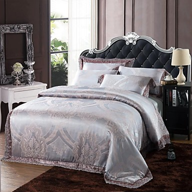 Xinxingmeng duvet cover sets luxury 4 piece silver - Fundas nordicas jacquard ...
