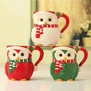 christmas cartoon owl shape mugs for gift painting ceramic three colors 2206770 2017. Black Bedroom Furniture Sets. Home Design Ideas