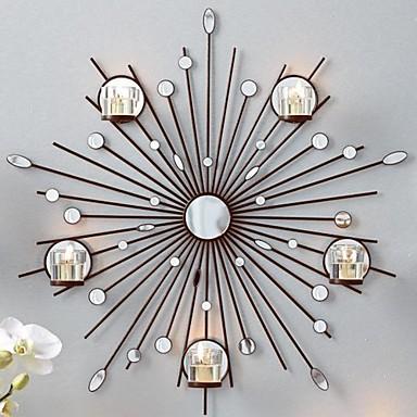 Väggdekor G : Metall vägg konst väggdekor solen spegel ljusstake