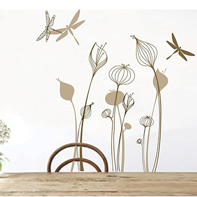 Wall Stickers Wall Decals Flower Dragonfly Home Decor Pvc