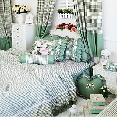 fadfay cor enne princesse literie vert sc nographes filles vichy housse de couette volants. Black Bedroom Furniture Sets. Home Design Ideas