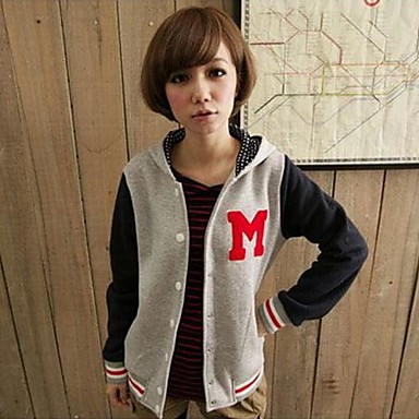 Women's Letter M Long Sleeve Baseball Jacket Hooded Coat More Colors