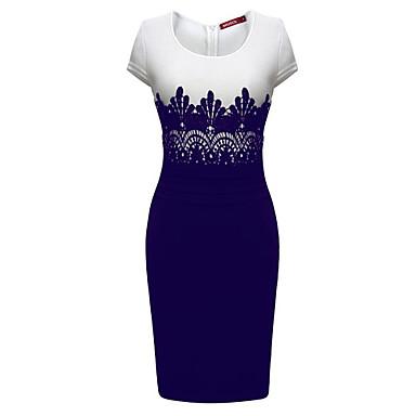 Women's Lace Bodycon Midi Dress,Round Neck Short Sleeve
