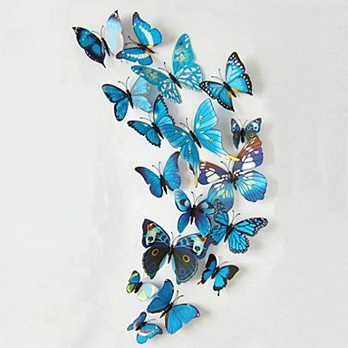 12Pcs Beautiful Stereo Multicolored Butterfly Wall Stickers