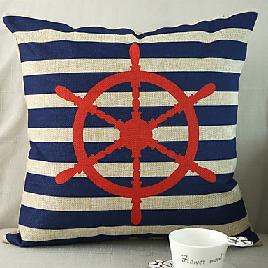 Buy Rudder Pattern Cotton/Linen Decorative Pillow Cover