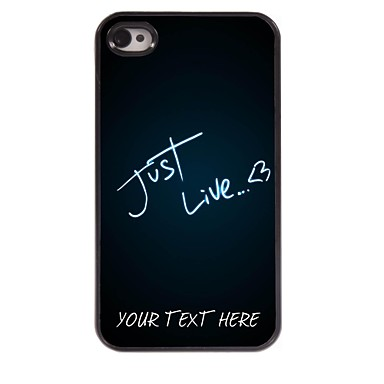 Buy Personalized Phone Case - Just Live Design Metal iPhone 4/4S