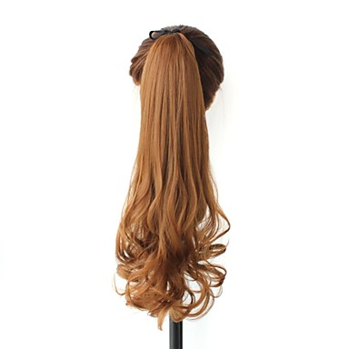 excellent quality synthetic 20 inch brown long curly clip