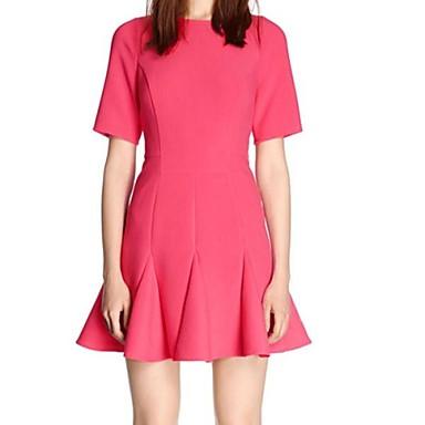 Vestido de festa curto rosa evasê