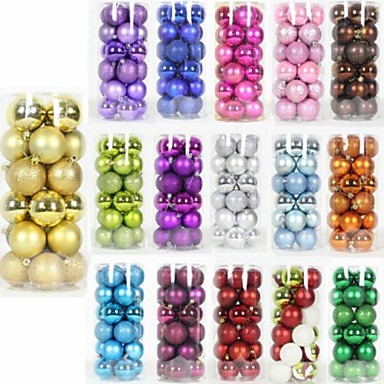 24PCS /Pack XMAS Tree Ornament 6CM Round Christmas Balls Baubles