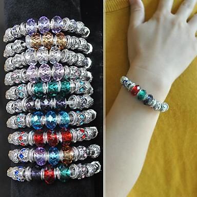 1PCS Fashion National Wind Colorful Gem Carved Silver Bracelet(Assorted Colors)